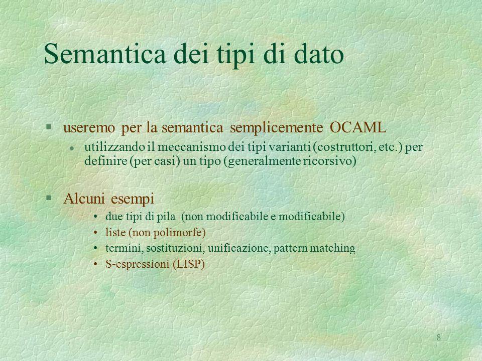 8 Semantica dei tipi di dato §useremo per la semantica semplicemente OCAML l utilizzando il meccanismo dei tipi varianti (costruttori, etc.) per definire (per casi) un tipo (generalmente ricorsivo) §Alcuni esempi due tipi di pila (non modificabile e modificabile) liste (non polimorfe) termini, sostituzioni, unificazione, pattern matching S-espressioni (LISP)