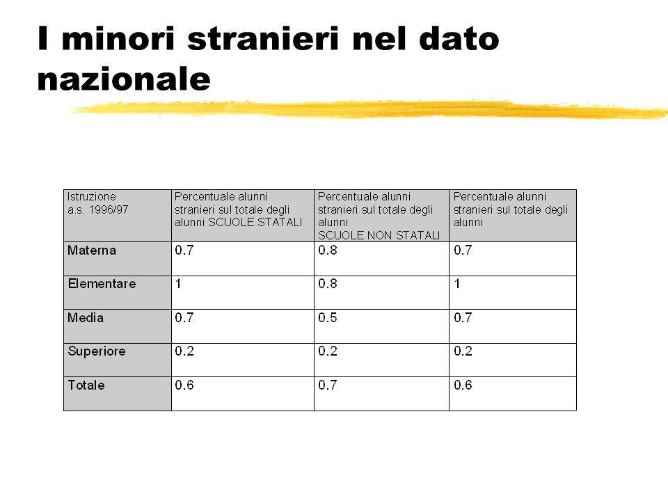 La provenienza dei minori nel dato nazionale (ISTAT 97)