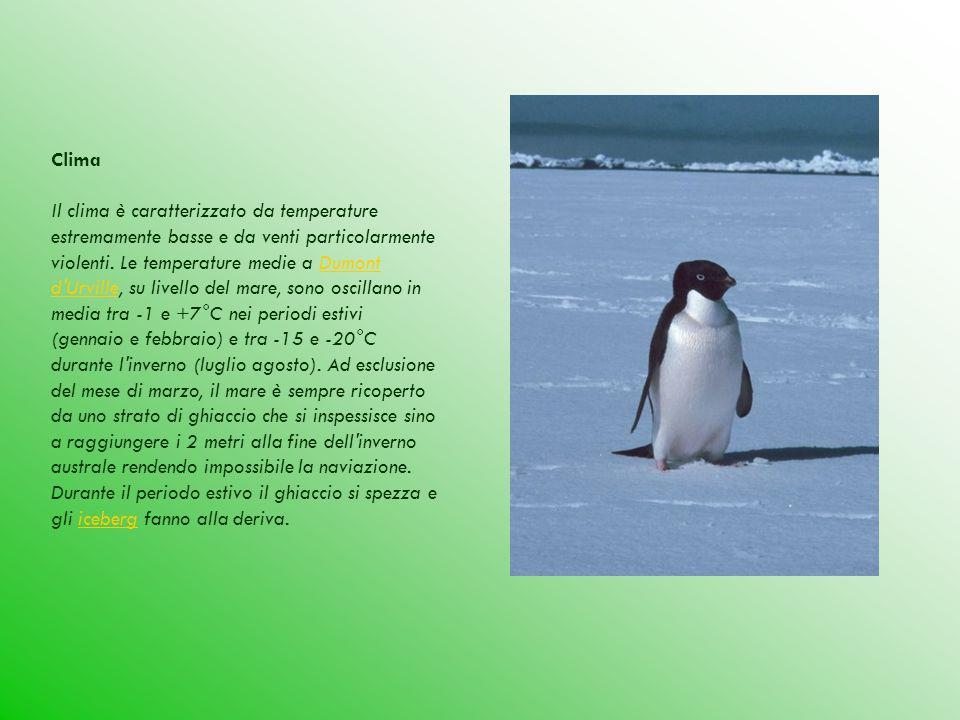 Clima Il clima è caratterizzato da temperature estremamente basse e da venti particolarmente violenti. Le temperature medie a Dumont d'Urville, su liv