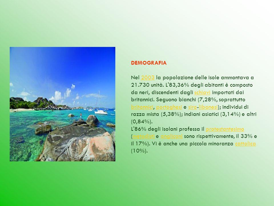 DEMOGRAFIA Nel 2003 la popolazione delle isole ammontava a 21.730 unità. L'83,36% degli abitanti è composto da neri, discendenti dagli schiavi importa