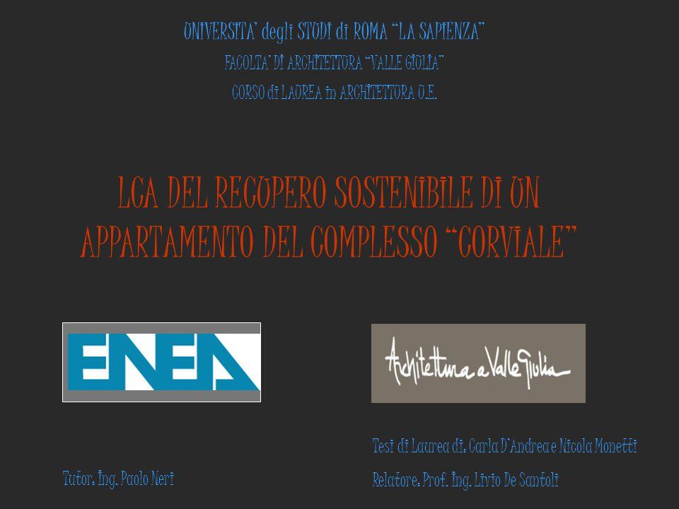 """UNIVERSITA' degli STUDI di ROMA """"LA SAPIENZA"""" FACOLTA' DI ARCHITETTURA """"VALLE GIULIA"""" CORSO di LAUREA in ARCHITETTURA U.E. LCA DEL RECUPERO SOSTENIBIL"""