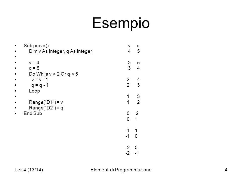 Lez 4 (13/14)Elementi di Programmazione5 Esempio Option Explicit Sub prova() Dim v As Integer, v = 4 Do While True v = v + 1 Range( F1 ) = v Loop Range( D1 ) = v End Sub v 4 5 6 : 32767