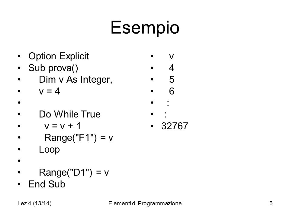 Lez 4 (13/14)Elementi di Programmazione5 Esempio Option Explicit Sub prova() Dim v As Integer, v = 4 Do While True v = v + 1 Range( F1 ) = v Loop Range( D1 ) = v End Sub v 4 5 6 : 32767