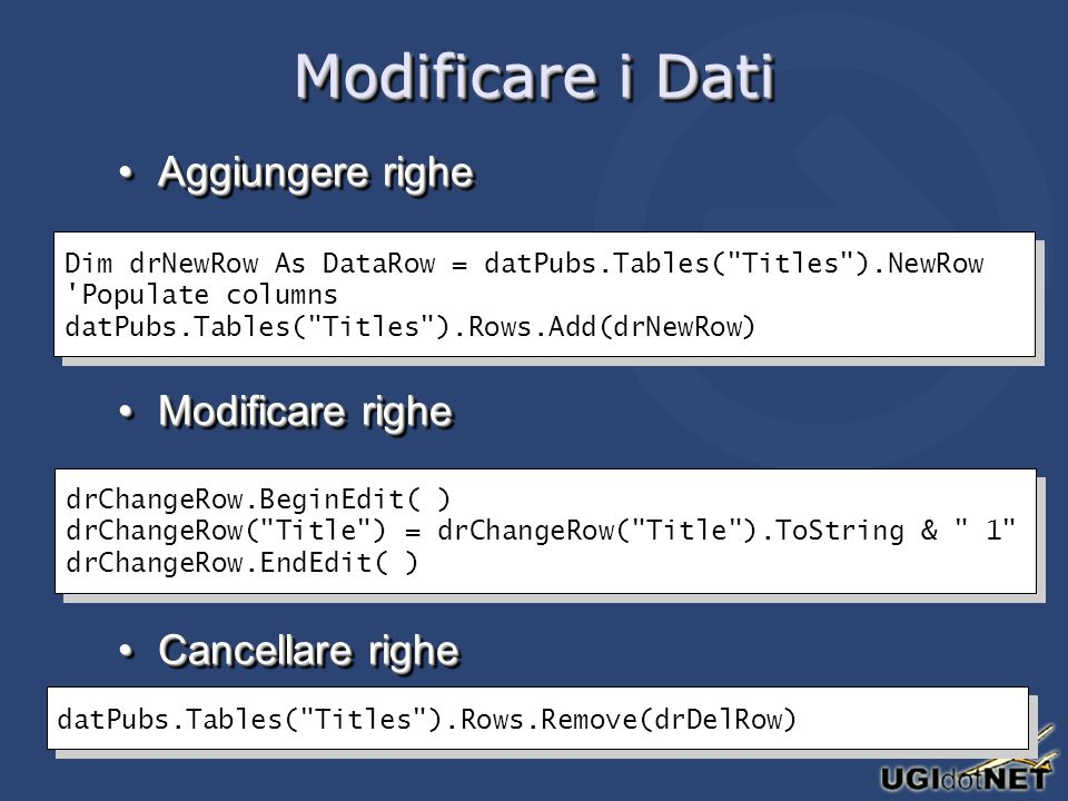 Modificare i Dati Aggiungere righeAggiungere righe Modificare righeModificare righe Cancellare righeCancellare righe Aggiungere righeAggiungere righe Modificare righeModificare righe Cancellare righeCancellare righe Dim drNewRow As DataRow = datPubs.Tables( Titles ).NewRow Populate columns datPubs.Tables( Titles ).Rows.Add(drNewRow) Dim drNewRow As DataRow = datPubs.Tables( Titles ).NewRow Populate columns datPubs.Tables( Titles ).Rows.Add(drNewRow) drChangeRow.BeginEdit( ) drChangeRow( Title ) = drChangeRow( Title ).ToString & 1 drChangeRow.EndEdit( ) drChangeRow.BeginEdit( ) drChangeRow( Title ) = drChangeRow( Title ).ToString & 1 drChangeRow.EndEdit( ) datPubs.Tables( Titles ).Rows.Remove(drDelRow)