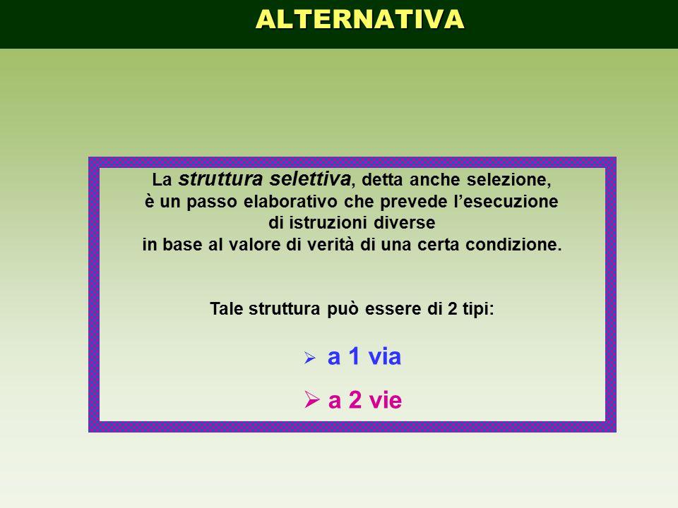 La struttura selettiva, detta anche selezione, è un passo elaborativo che prevede l'esecuzione di istruzioni diverse in base al valore di verità di un