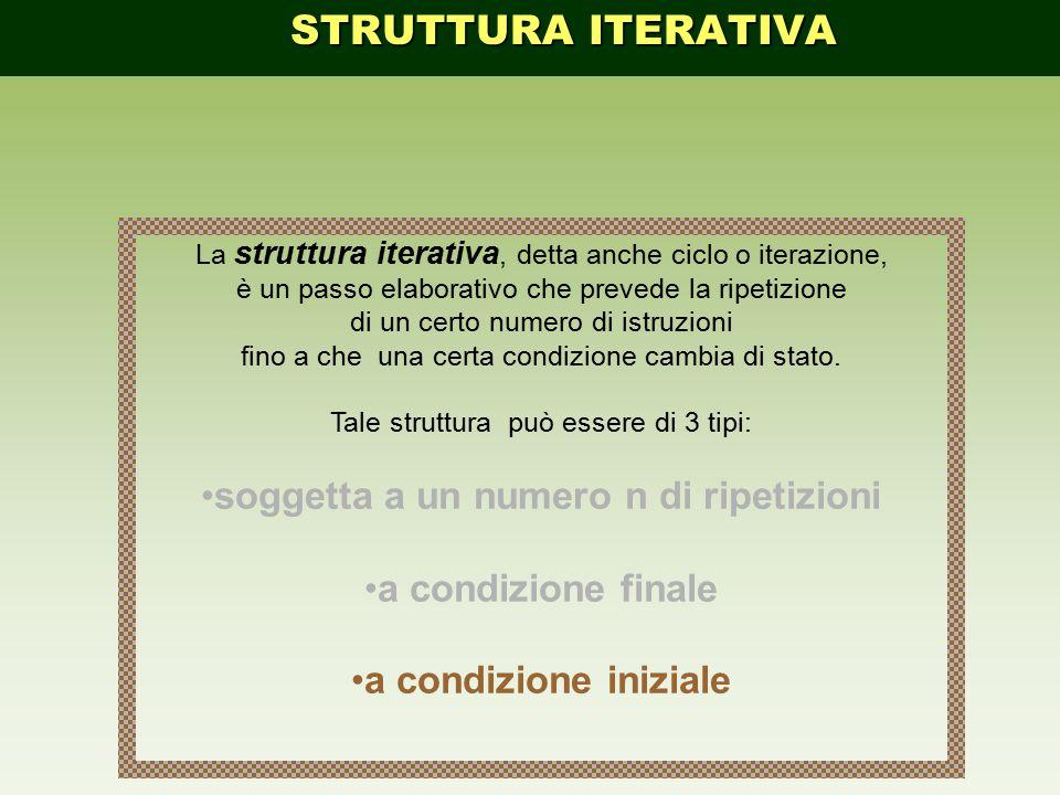 La struttura iterativa, detta anche ciclo o iterazione, è un passo elaborativo che prevede la ripetizione di un certo numero di istruzioni fino a che