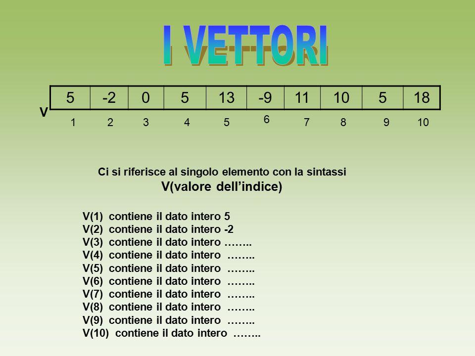 5-20513-91110518 V Ci si riferisce al singolo elemento con la sintassi V(valore dell'indice) V(1) contiene il dato intero 5 V(2) contiene il dato inte