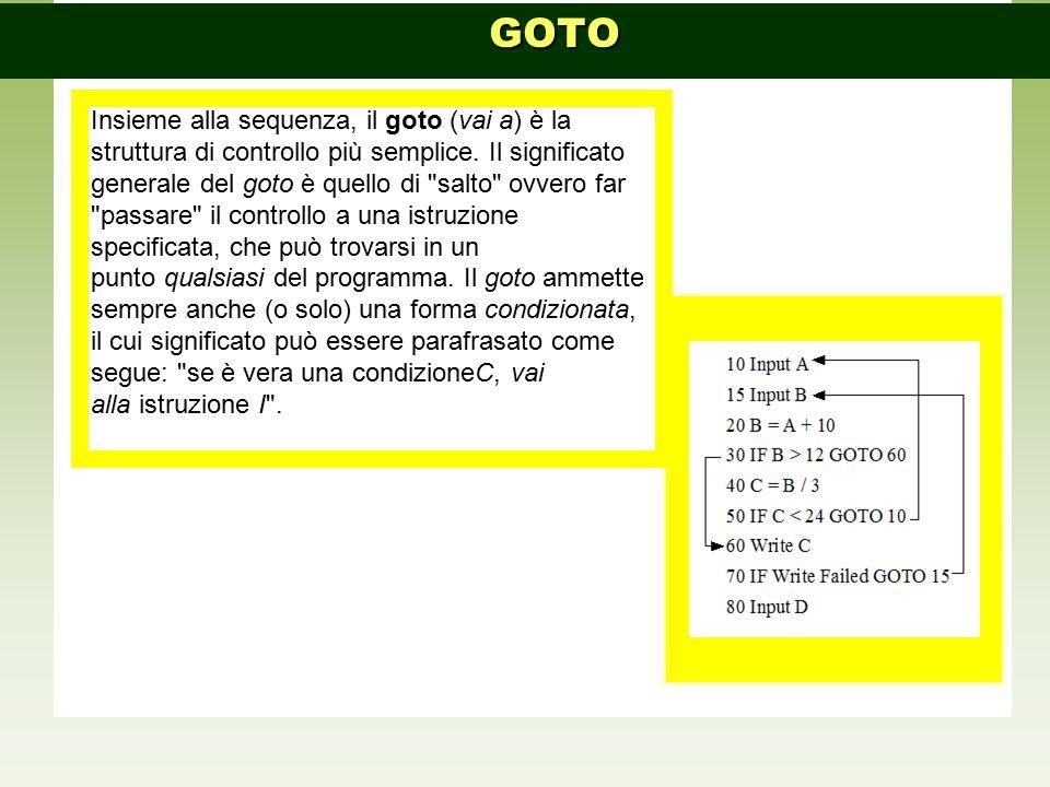 Insieme alla sequenza, il goto (vai a) è la struttura di controllo più semplice. Il significato generale del goto è quello di