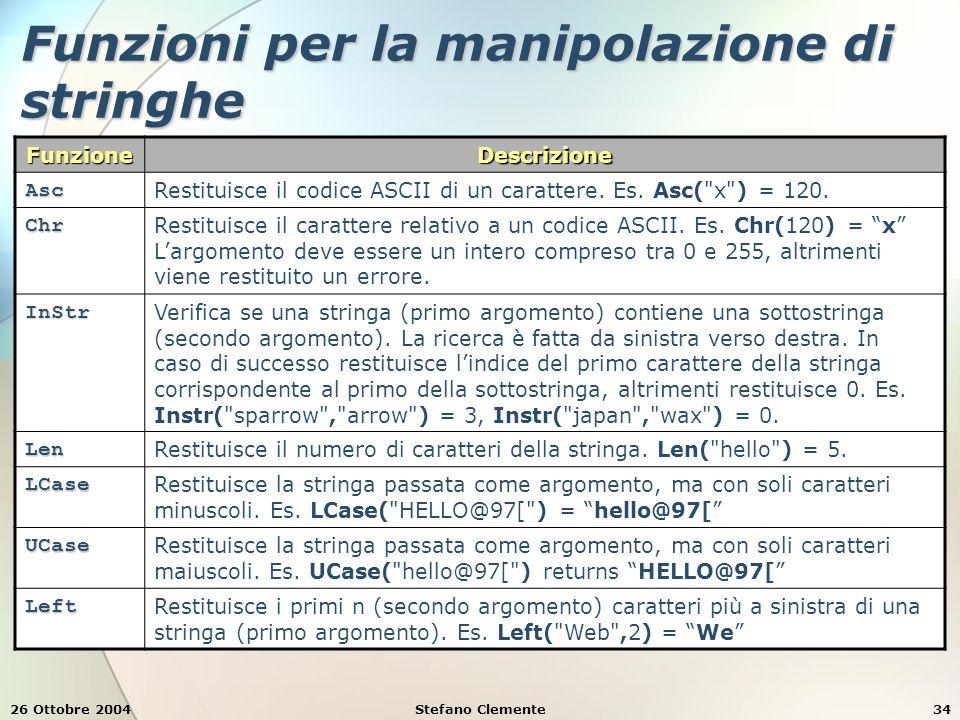 26 Ottobre 2004Stefano Clemente34 Funzioni per la manipolazione di stringhe FunzioneDescrizione Asc Restituisce il codice ASCII di un carattere. Es. A