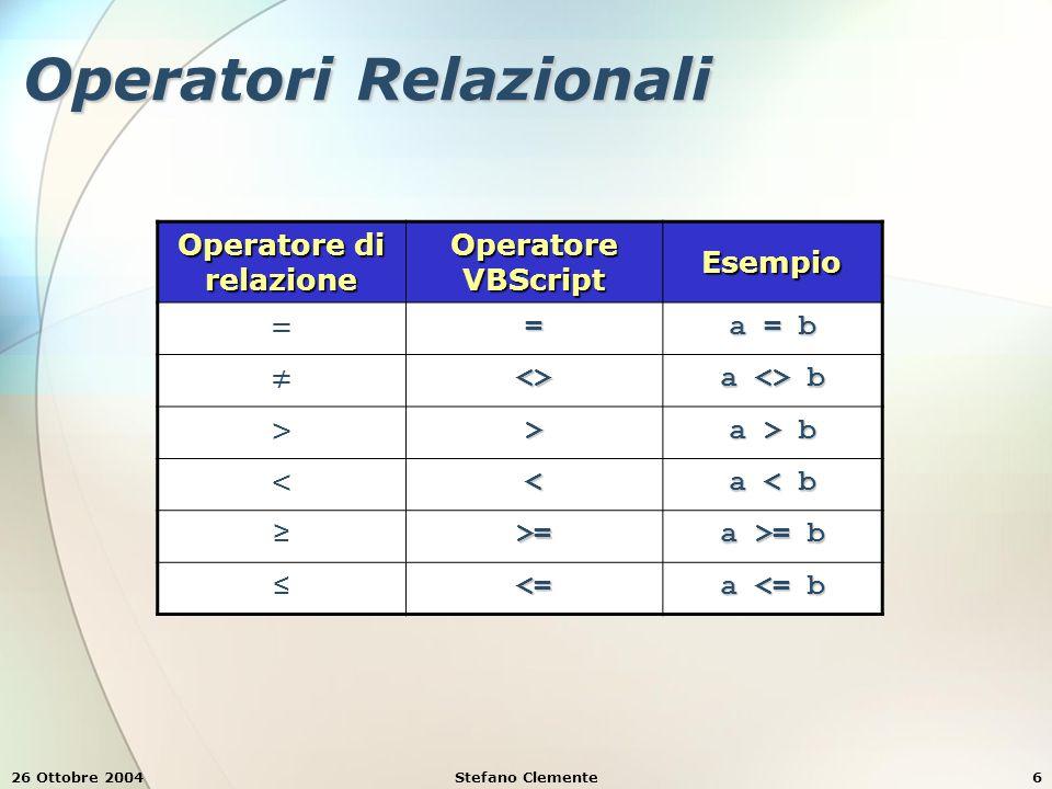 26 Ottobre 2004Stefano Clemente6 Operatori Relazionali Operatore di relazione Operatore VBScript Esempio == a = b ≠<> a <> b >> a > b << a < b ≥>= a >= b ≤<= a <= b