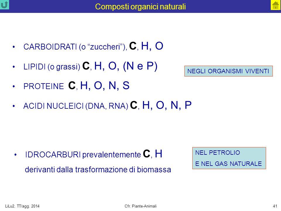 """LiLu2, TT/agg. 2014Cfr. Piante-Animali41 Composti organici naturali CARBOIDRATI (o """"zuccheri""""), C, H, O LIPIDI (o grassi) C, H, O, (N e P) PROTEINE C,"""