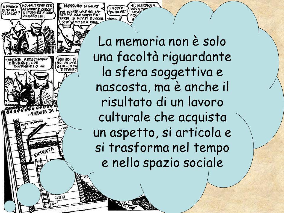 La memoria non è solo una facoltà riguardante la sfera soggettiva e nascosta, ma è anche il risultato di un lavoro culturale che acquista un aspetto,