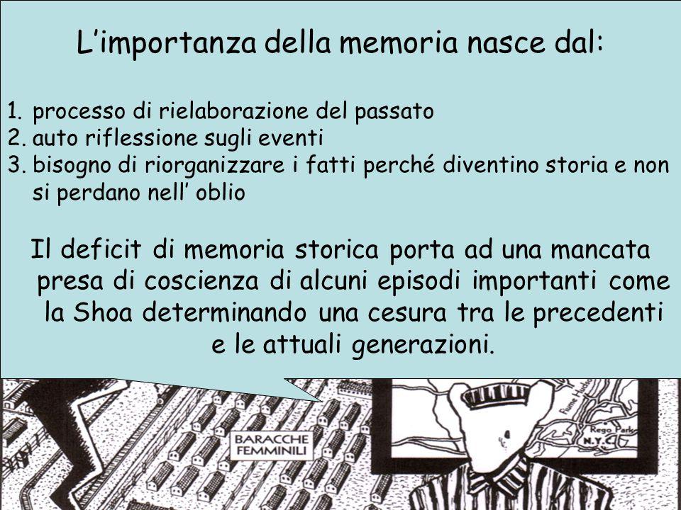 L'importanza della memoria nasce dal: 1.processo di rielaborazione del passato 2.auto riflessione sugli eventi 3.bisogno di riorganizzare i fatti perc