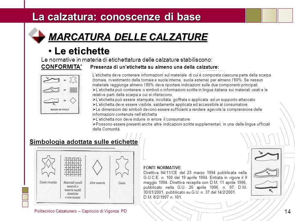 Politecnico Calzaturiero – Capriccio di Vigonza PD La calzatura: conoscenze di base 14 MARCATURA DELLE CALZATURE Le etichette Le etichette Le normativ