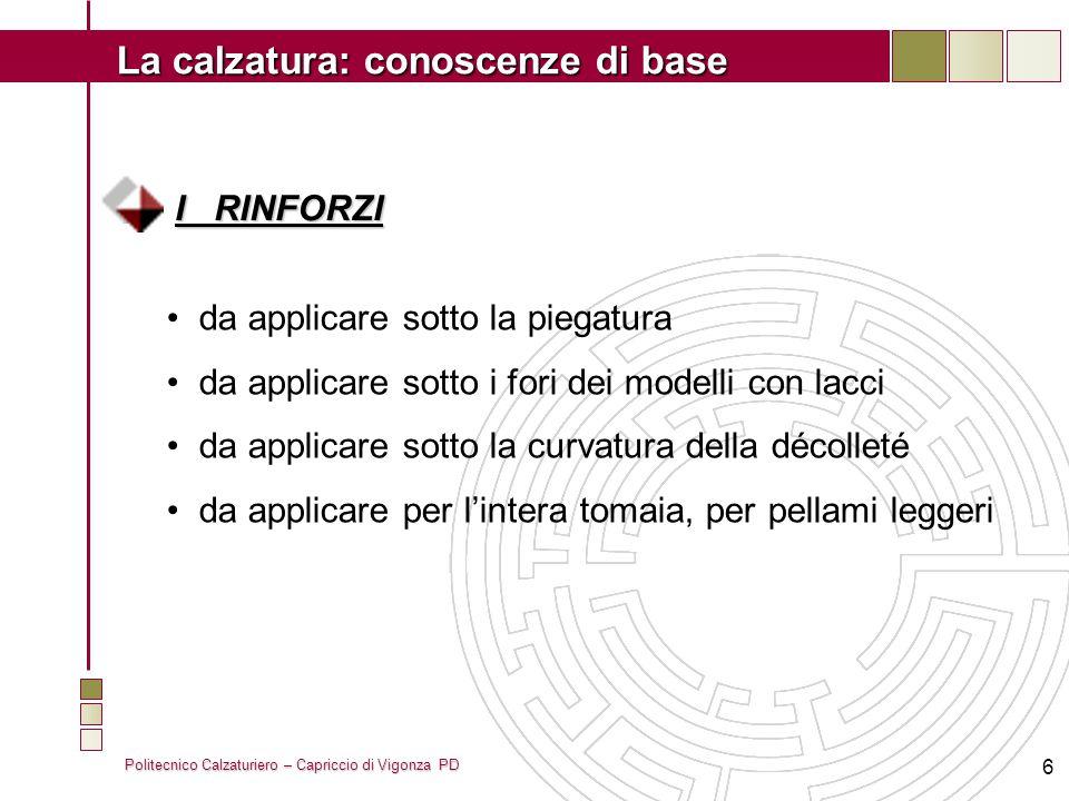 Politecnico Calzaturiero – Capriccio di Vigonza PD La calzatura: conoscenze di base 6 I RINFORZI da applicare sotto la piegatura da applicare sotto i