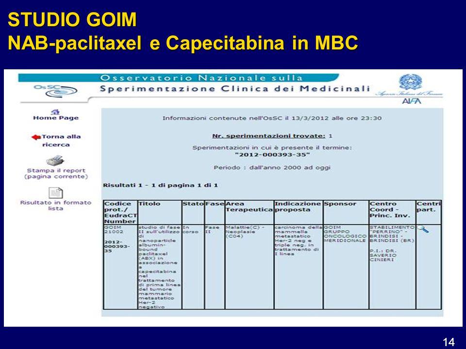 14 STUDIO GOIM NAB-paclitaxel e Capecitabina in MBC