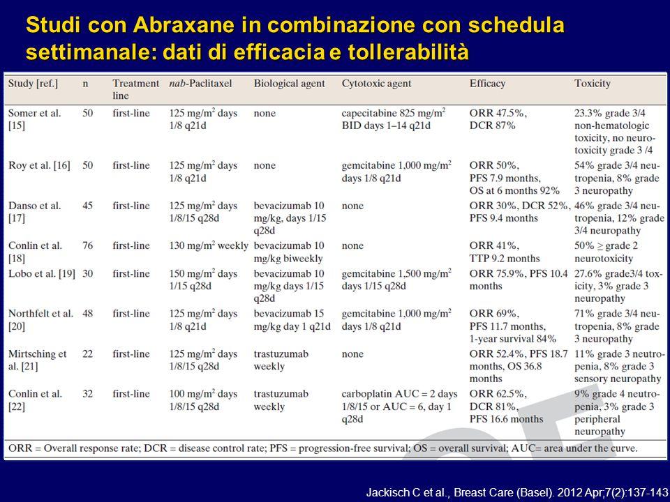Studi con Abraxane in combinazione con schedula settimanale: dati di efficacia e tollerabilità Jackisch C et al., Breast Care (Basel). 2012 Apr;7(2):1