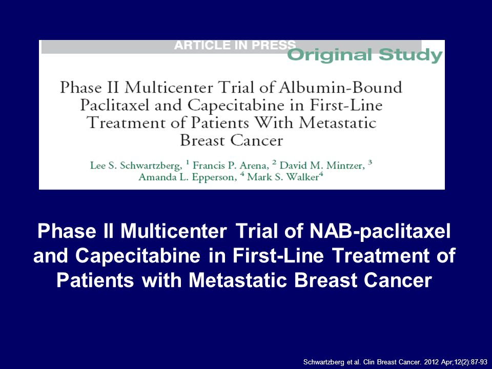Phase II Multicenter Trial of NAB-paclitaxel and Capecitabine in First-Line Treatment of Patients with Metastatic Breast Cancer Schwartzberg et al.