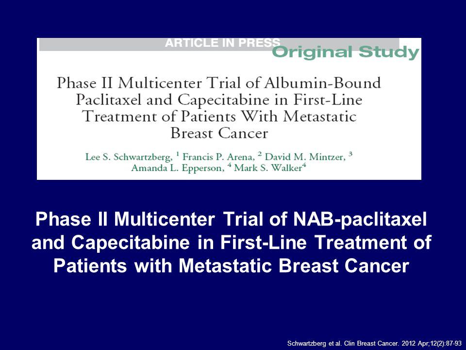 NAB-paclitaxel e capecitabina: disegno dello studio bid, twice daily; IV, intravenous; MBC, metastatic breast cancer; q3w, every 3 weeks.