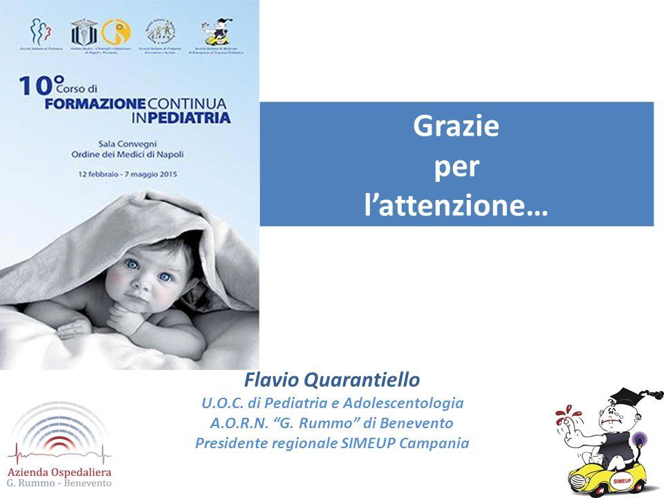 """Flavio Quarantiello U.O.C. di Pediatria e Adolescentologia A.O.R.N. """"G. Rummo"""" di Benevento Presidente regionale SIMEUP Campania Grazie per l'attenzio"""