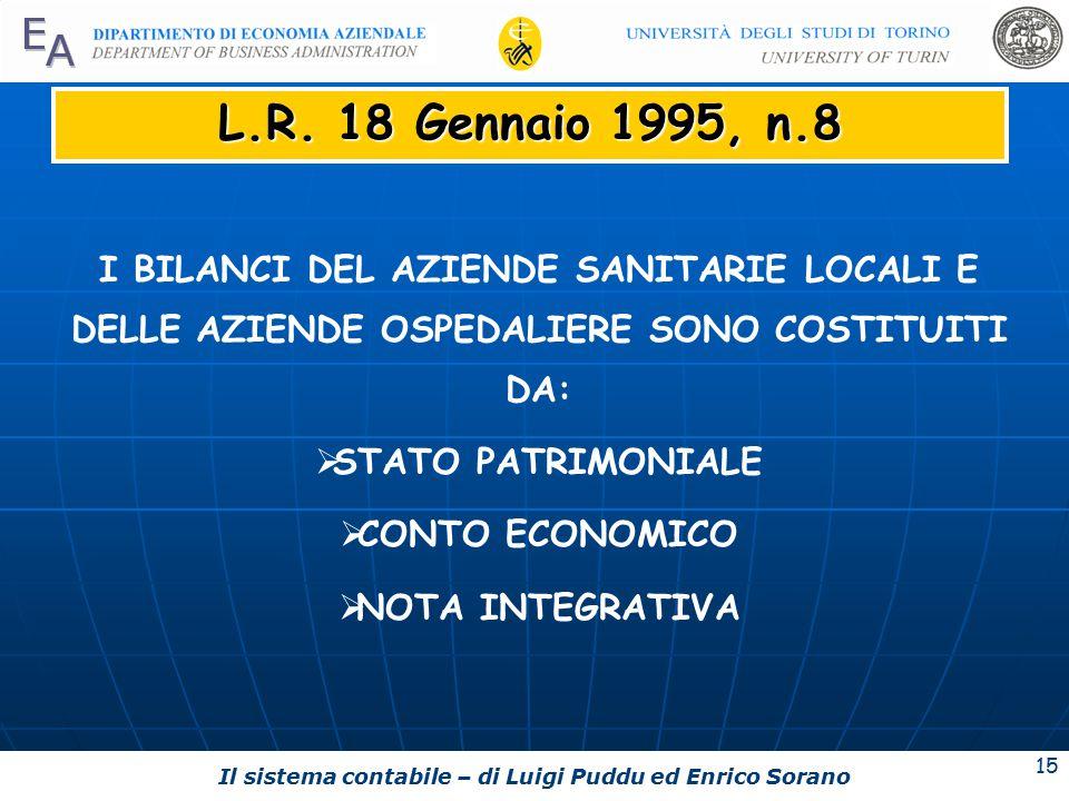 Il sistema contabile – di Luigi Puddu ed Enrico Sorano 15 L.R.