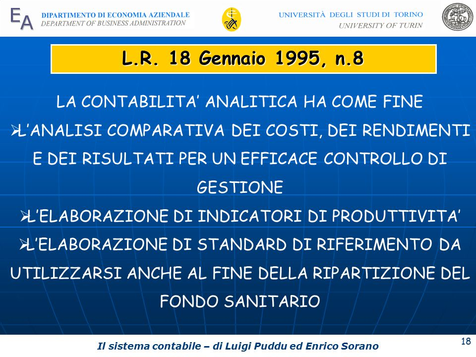 Il sistema contabile – di Luigi Puddu ed Enrico Sorano 18 L.R.