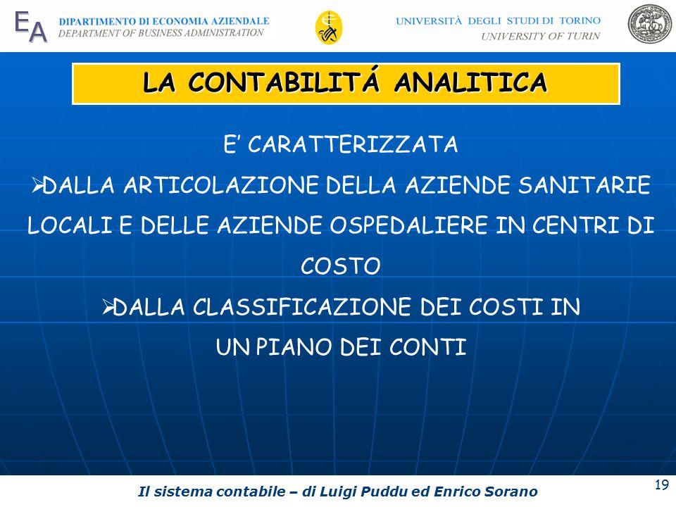 Il sistema contabile – di Luigi Puddu ed Enrico Sorano 19 LA CONTABILITÁ ANALITICA E' CARATTERIZZATA  DALLA ARTICOLAZIONE DELLA AZIENDE SANITARIE LOCALI E DELLE AZIENDE OSPEDALIERE IN CENTRI DI COSTO  DALLA CLASSIFICAZIONE DEI COSTI IN UN PIANO DEI CONTI