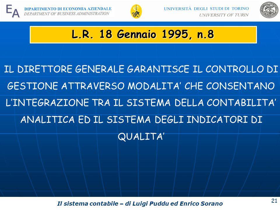 Il sistema contabile – di Luigi Puddu ed Enrico Sorano 21 L.R.