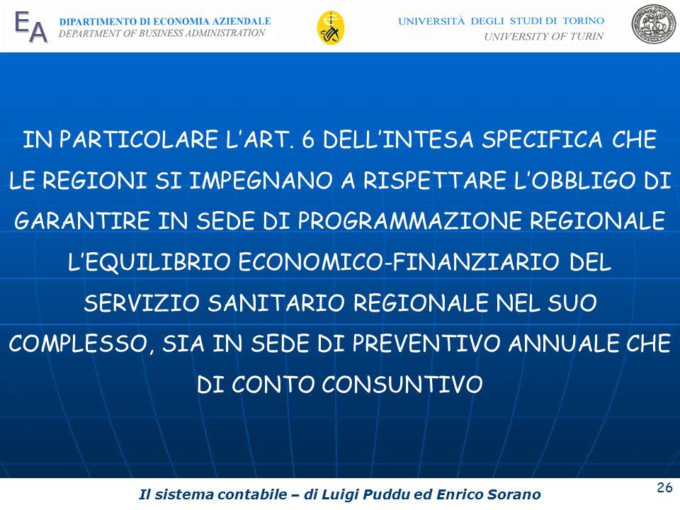 Il sistema contabile – di Luigi Puddu ed Enrico Sorano 26 IN PARTICOLARE L'ART.