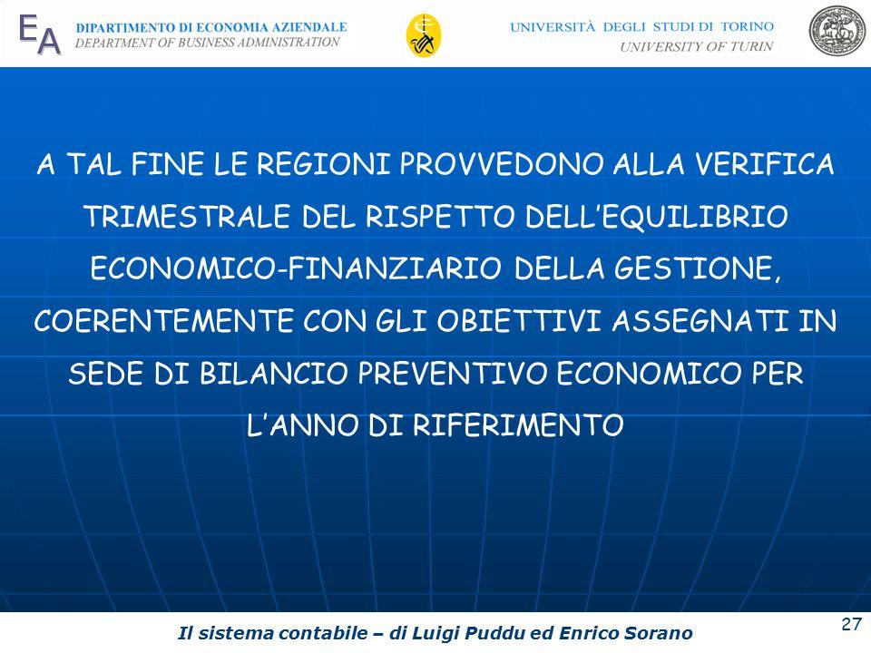 Il sistema contabile – di Luigi Puddu ed Enrico Sorano 27 A TAL FINE LE REGIONI PROVVEDONO ALLA VERIFICA TRIMESTRALE DEL RISPETTO DELL'EQUILIBRIO ECONOMICO-FINANZIARIO DELLA GESTIONE, COERENTEMENTE CON GLI OBIETTIVI ASSEGNATI IN SEDE DI BILANCIO PREVENTIVO ECONOMICO PER L'ANNO DI RIFERIMENTO