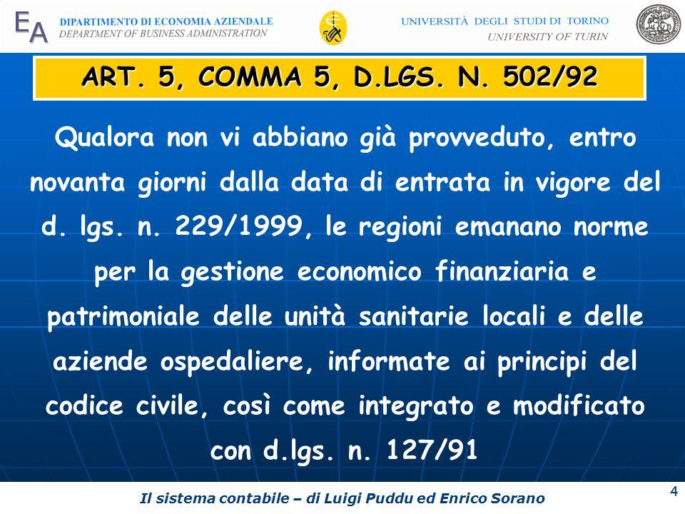 Il sistema contabile – di Luigi Puddu ed Enrico Sorano 4 ART.
