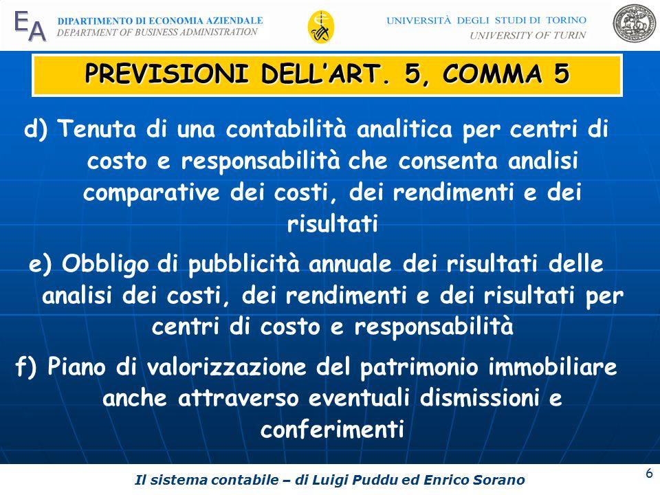 Il sistema contabile – di Luigi Puddu ed Enrico Sorano 6 PREVISIONI DELL'ART.