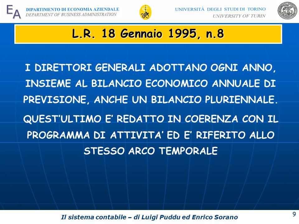Il sistema contabile – di Luigi Puddu ed Enrico Sorano 9 L.R.