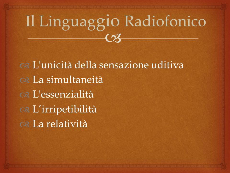  Il Linguag gio Radiofonico  L unicità della sensazione uditiva  La simultaneità  L essenzialità  L'irripetibilità  La relatività