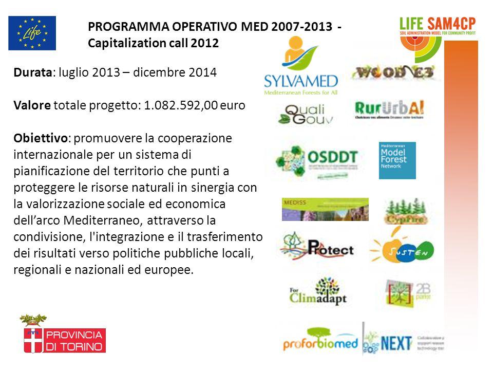 Durata: luglio 2013 – dicembre 2014 Valore totale progetto: 1.082.592,00 euro Obiettivo: promuovere la cooperazione internazionale per un sistema di p