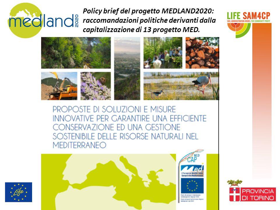 Policy brief del progetto MEDLAND2020: raccomandazioni politiche derivanti dalla capitalizzazione di 13 progetto MED.