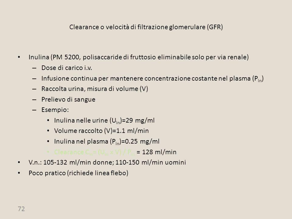 72 Clearance o velocità di filtrazione glomerulare (GFR) Inulina (PM 5200, polisaccaride di fruttosio eliminabile solo per via renale) – Dose di caric