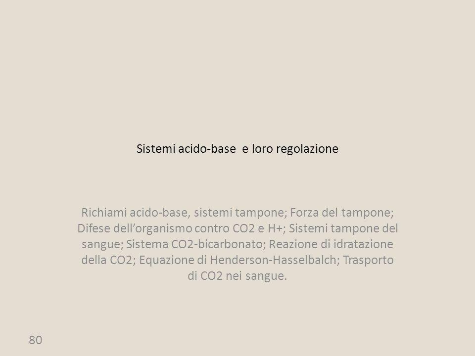 80 Sistemi acido-base e loro regolazione Richiami acido-base, sistemi tampone; Forza del tampone; Difese dell'organismo contro CO2 e H+; Sistemi tampo