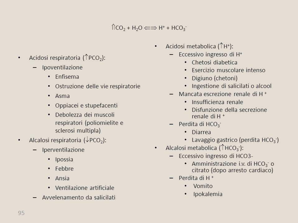 95  CO 2 + H 2 O  H + + HCO 3 - Acidosi respiratoria (  PCO 2 ): – Ipoventilazione Enfisema Ostruzione delle vie respiratorie Asma Oppiacei e stup