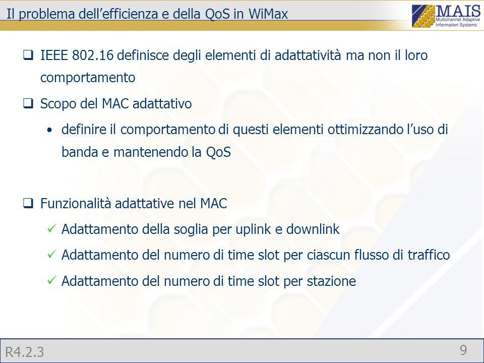 R4.2.3 9 Il problema dell'efficienza e della QoS in WiMax  IEEE 802.16 definisce degli elementi di adattatività ma non il loro comportamento  Scopo del MAC adattativo definire il comportamento di questi elementi ottimizzando l'uso di banda e mantenendo la QoS  Funzionalità adattative nel MAC Adattamento della soglia per uplink e downlink Adattamento del numero di time slot per ciascun flusso di traffico Adattamento del numero di time slot per stazione
