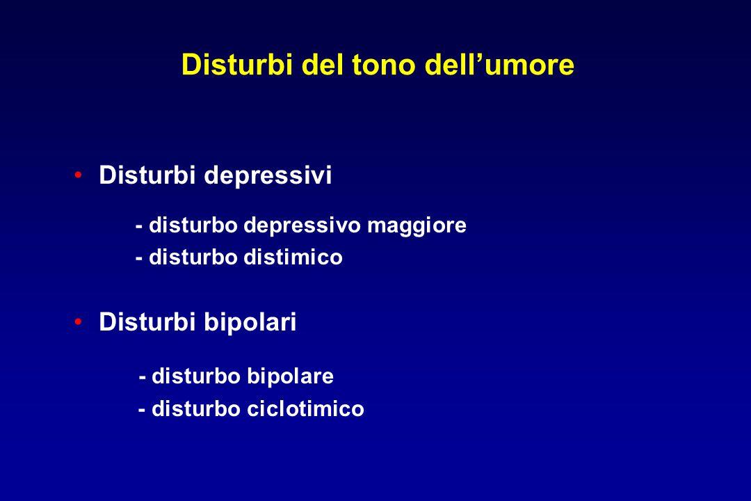 Disturbi del tono dell'umore Disturbi depressivi - disturbo depressivo maggiore - disturbo distimico Disturbi bipolari - disturbo bipolare - disturbo