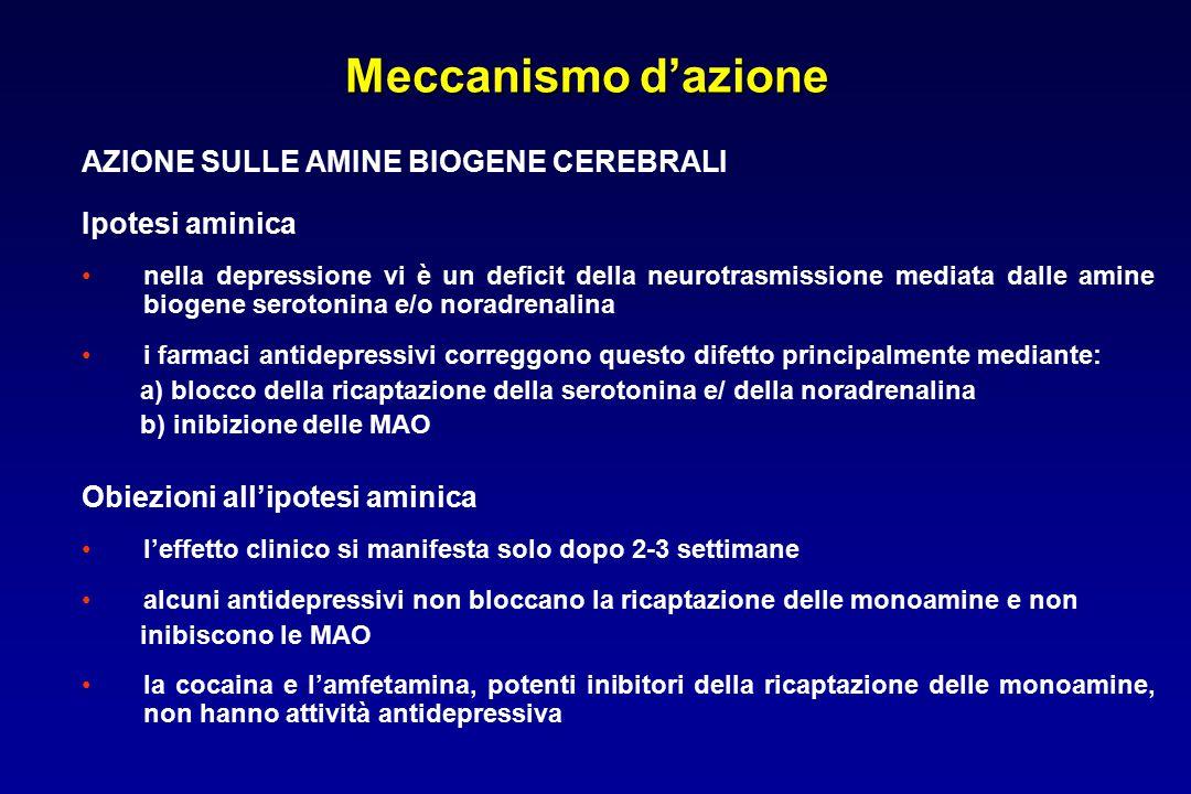Meccanismo d'azione AZIONE SULLE AMINE BIOGENE CEREBRALI Ipotesi aminica nella depressione vi è un deficit della neurotrasmissione mediata dalle amine