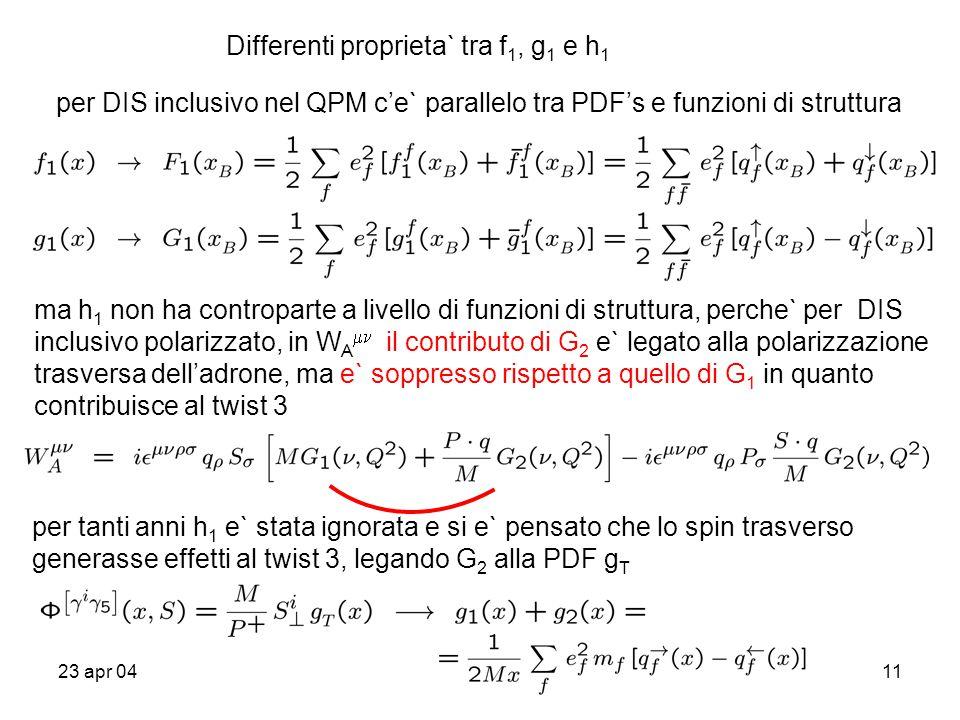 23 apr 0411 Differenti proprieta` tra f 1, g 1 e h 1 per DIS inclusivo nel QPM c'e` parallelo tra PDF's e funzioni di struttura ma h 1 non ha contropa