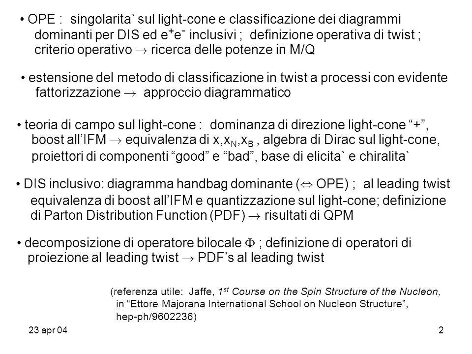 23 apr 042 OPE : singolarita` sul light-cone e classificazione dei diagrammi dominanti per DIS ed e + e - inclusivi ; definizione operativa di twist ;