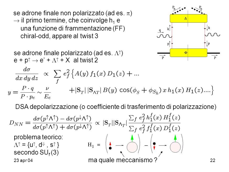 23 apr 0422 se adrone finale non polarizzato (ad es.  ) ! il primo termine, che coinvolge h 1 e una funzione di frammentazione (FF) chiral-odd, appar