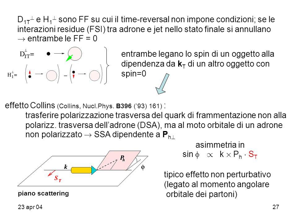 23 apr 0427 D 1T ? e H 1 ? sono FF su cui il time-reversal non impone condizioni; se le interazioni residue (FSI) tra adrone e jet nello stato finale