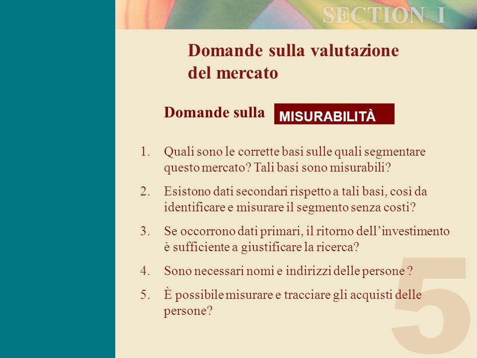 5 Domande sulla valutazione del mercato MISURABILITÀ Domande sulla 1.Quali sono le corrette basi sulle quali segmentare questo mercato.
