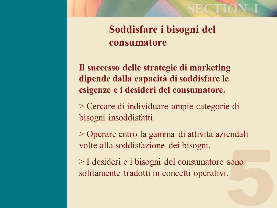 5 Soddisfare i bisogni del consumatore Il successo delle strategie di marketing dipende dalla capacità di soddisfare le esigenze e i desideri del consumatore.