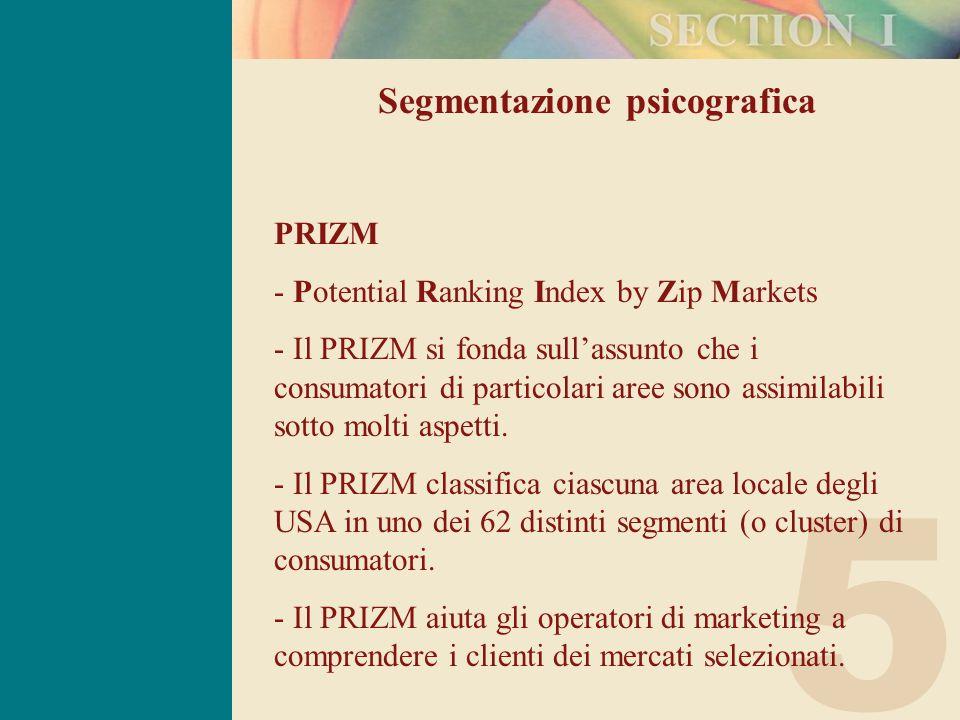 5 Segmentazione psicografica PRIZM - Potential Ranking Index by Zip Markets - Il PRIZM si fonda sull'assunto che i consumatori di particolari aree sono assimilabili sotto molti aspetti.