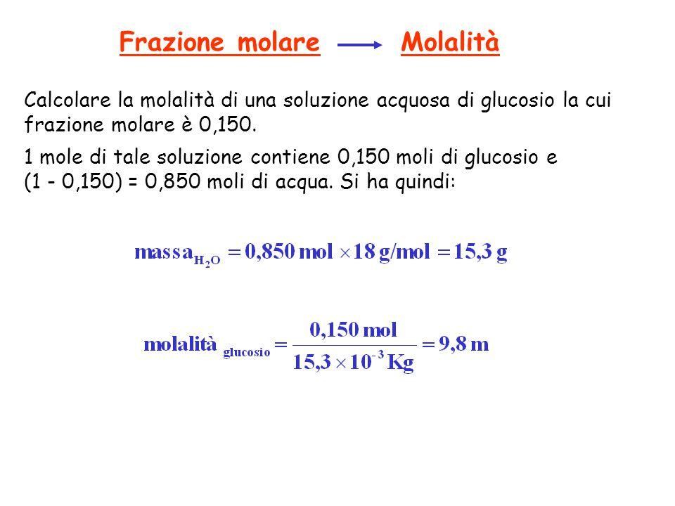 Frazione molare Molalità Calcolare la molalità di una soluzione acquosa di glucosio la cui frazione molare è 0,150. 1 mole di tale soluzione contiene